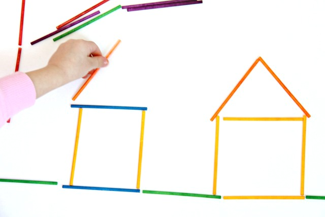 Use dyed lollipop sticks to work on visual memory by copying and building shapes, forms, letters, numbers, and pictures. Visual Memory  is an important skill needed for reading and writing.