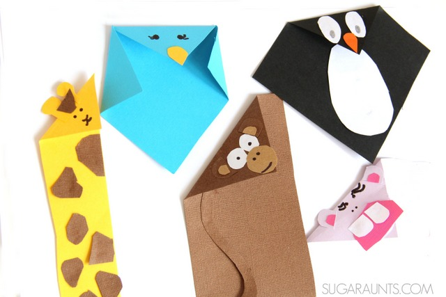 Folded paper animal crafts for kids based on the book, Beautiful Oops