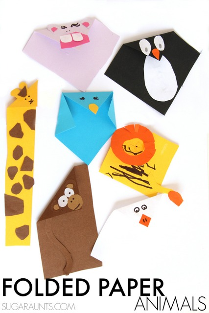 Folded paper animal crafts based on the book, Beautiful Oops