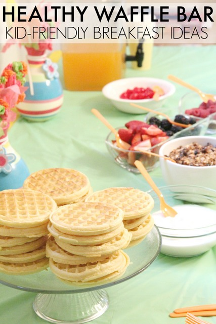 Set up a healthy waffle bar for a sleepover special breakfast.  Great ideas for healthy waffle toppings.