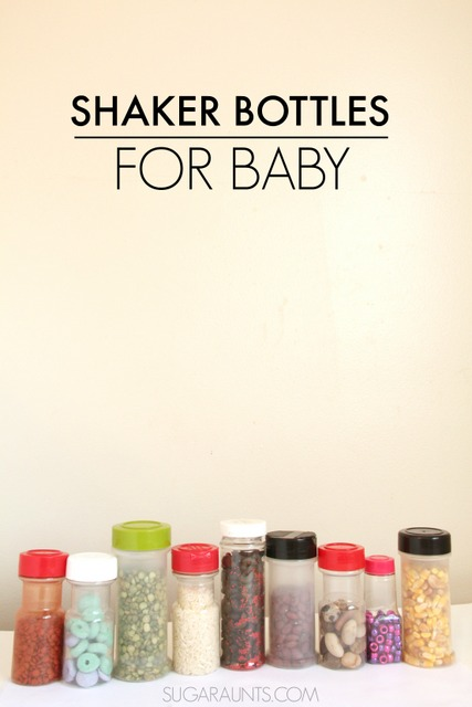 Shaker sensory bottles for auditory and visual sensory play. Babies love these!