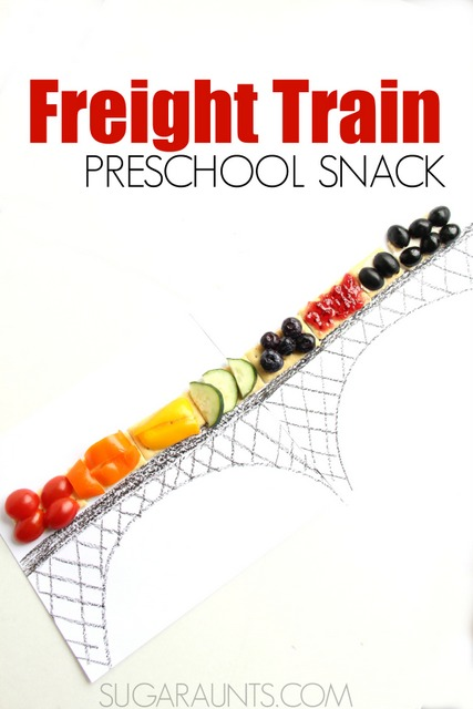 Freight Train book snack idea for preschool! This is a cute snack for preschool, homeschool, home, or a train-themed party food.