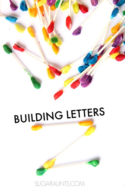 Building letters with baked cotton swabs