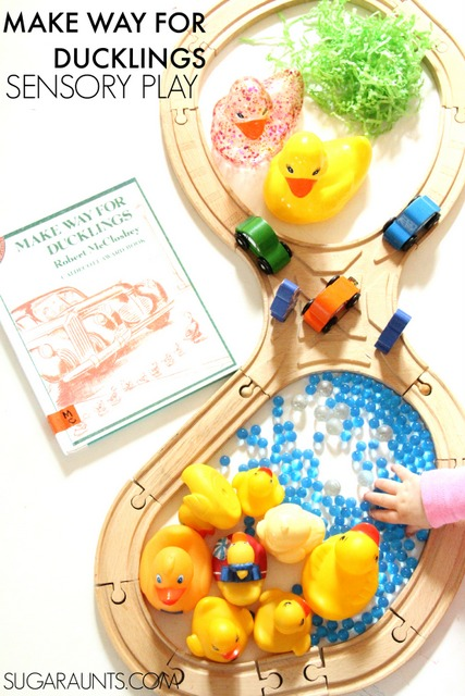 Make Way for Ducklings book sensory play activity. This is a fun way to re-tell a story through sensory play.