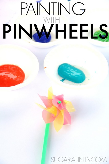 "Paint with Pinwheels for a creative art painting experience with kids!  This is a cute art project for a letter ""P"" preschool theme!"