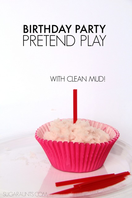 Birthday Party pretend play with clean mud sensory play