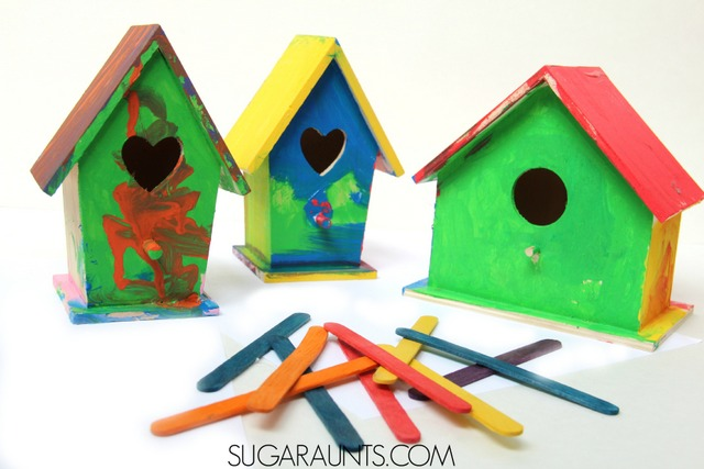 "Painted birdhouses craft and Body Part, Color Identification Game based on the book, ""I Ain't Gonna Paint No More!"""