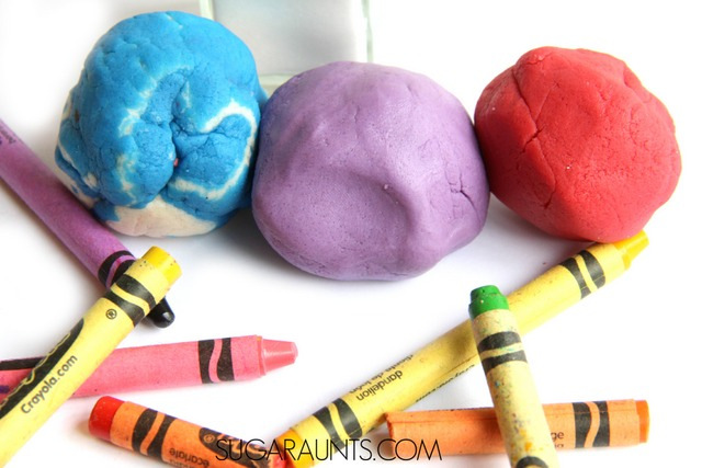 How do you make colored salt dough? Use melted crayons for the brightest and softed sensory play dough salt dough recipe there is! Kids will love to use this colored salt dough to make ornaments, manipulatives, and creative play items, all with crayon salt dough!