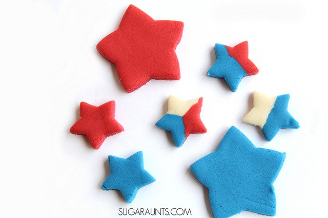 Make patriotic salt dough with crayons this Memorial Day, Fourth of July, or any day! Use melted crayons to dye the salt dough for a bright and vivid color with a smooth texture.