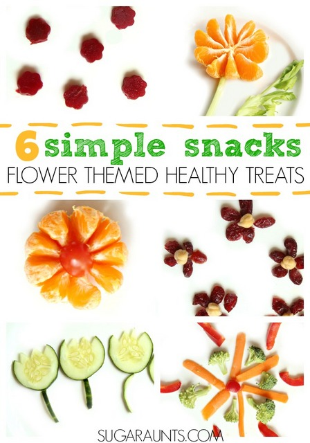flower snack ideas for kids!  These are the cutest flower themed snack ideas.  6 easy ideas for cute food for kids.