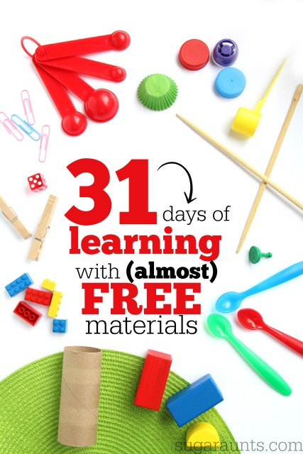 31 days of learning with almost free materials.  Learn at home through play with recycled and free materials.