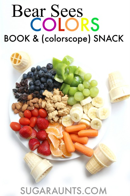 Make a color snack with kids and go on a color hunt to teach colors to kids.