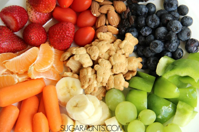 Make a color snack with kids for healthy snack ideas for preschool