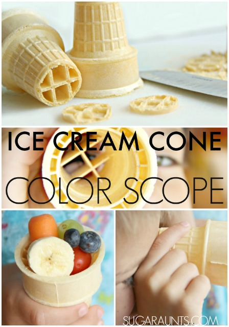 Ice Cream Cone snack container and color scope (or telescope!) based on the preschool book, Bear Sees Colors.