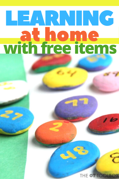 Use these learning at home ideas using free materials or items already found in the home.