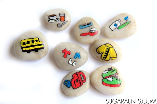 Back to school story stones for helping kids with the routines of Fall and school or homeschool mornings.