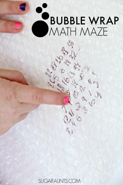 Maze activity with bubble wrap