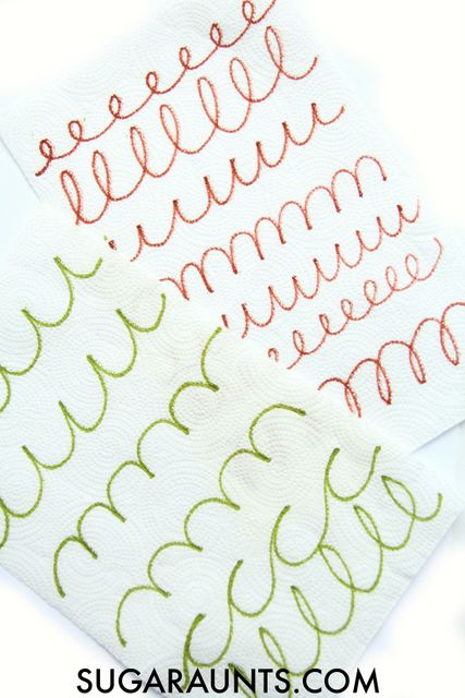 Work on cursive handwriting with this paper towel art with a fine motor twist.  Teach kids how to learn cursive lines and connecting lines with this fun activity.