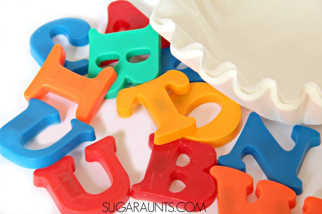 Matching upper and lower case letters and alphabet letter identification can be difficult for kindergarteners.  Use this letter matching game to prepare for kindergarten skills and gross motor play along with visual scanning. Uses magnetic letters and coffee filters for easy prep and set-up.  Great letter matching ideas and activities here!