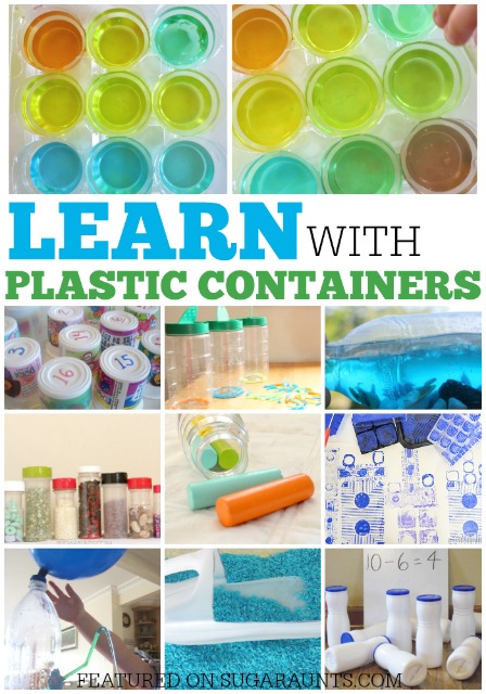 Ideas for using recycled plastic containers in learning activities for kids: science, math, sensory, crafts.