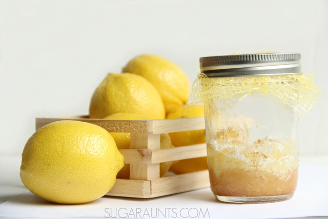 Make lemon bar cookies in a mason jar for gifting or a sweet and tart summery treat.  Kids will love to make these in a cooking with kids activity!