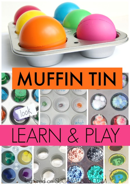 Creative ways to learn and play with muffin tine, including math, sight words, science, art, sorting, colors, baby play, and more.