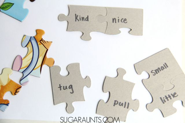 Use a puzzle with missing pieces to practice synonym matching and rhyming word matching  with Kindergarten and First Grade aged kids.