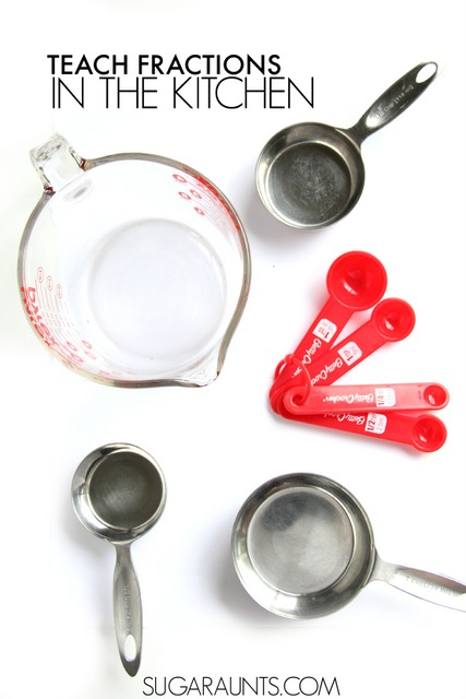 Teach kids fractions using kitchen utensils like measuring cups and measuring spoons.