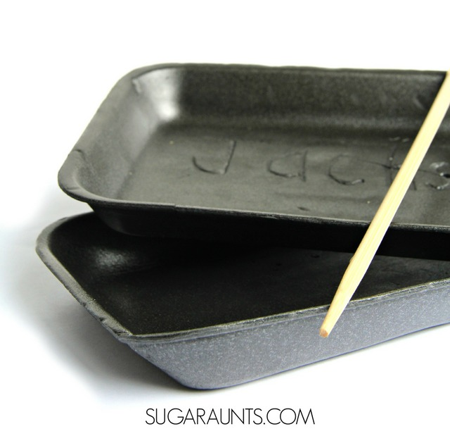 Work on handwriting and letter formation with a tripod grasp and hand strengthening with this activity.  A foam tray and a chop stick make a great handwriting activity for kids working on writing their name and letters.