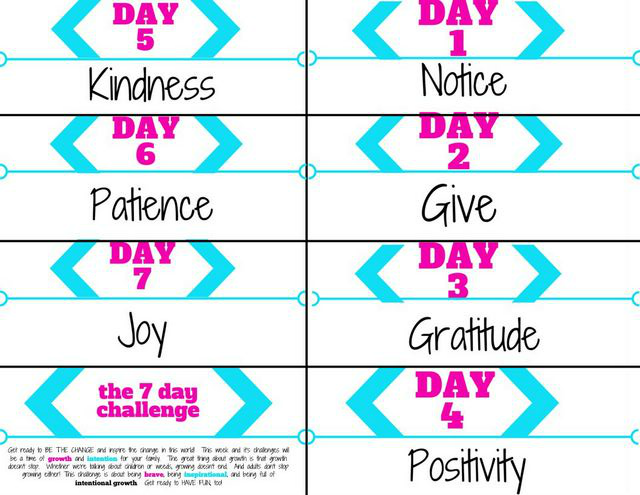 Free kindness challenge printable for the 7 day kindness challenge.