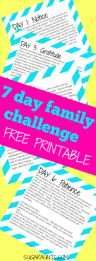 7 Day Challenge for inspiring good and change.  Take this challenge, loaded with easy activities that families and kids can do together for one week and be an inspiration of good, gratitude, and kindness by blessing and inspiring others.