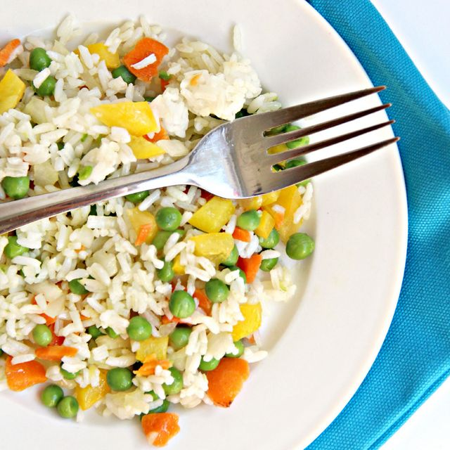 Easy Vegetable rice recipe. This is an easy side dish or main meal if you add a protein.  Kids love this and can help with cooking in this easy cooking with kids recipe.