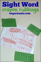 Sight word crayon rubbing activity