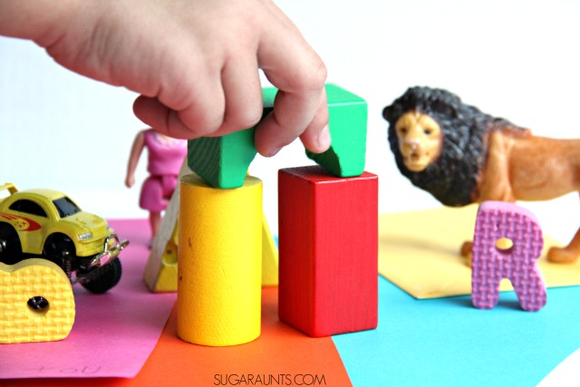 Developmental play ideas for function in kids with everyday play items.