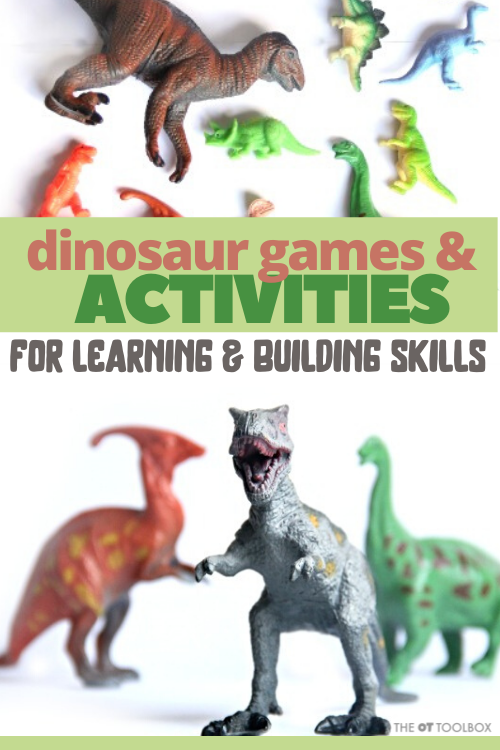 Kids will love these dinosaur activities for occupational therapy to help kids address fine and gross motor skills using OT dinosaur activities.