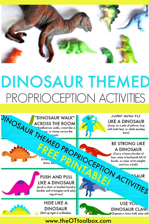 These dinosaur brain breaks are free heavy work cards for dinosaur proprioception activities