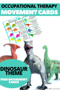 dinosaur movement cards for kids to use for heavy work and coping tools to address dinosaur sized feelings
