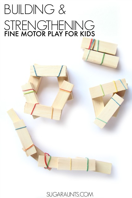 Hand strengthening activity for kids to play and create buildings with a asimple, no-prep activity. This is perfect for a busy bag activity for kids to do while waiting at restaurants or other places.  Also tips and ideas to work on intrinsic hand strengthening in kids, from an Occupational Therapist.