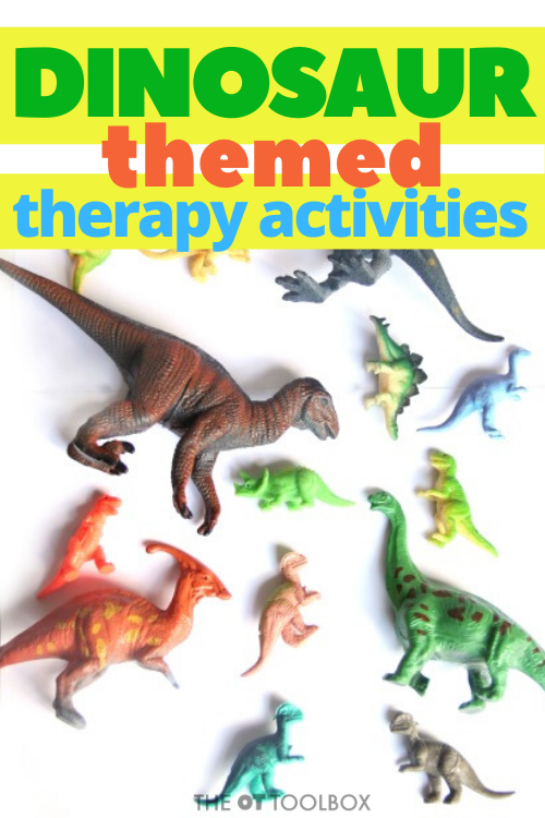 Occupational therapy activities with a dinosaur theme for heavy work activities and movement.