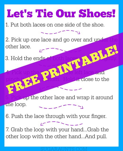Teach kids how to tie their shoes free printable