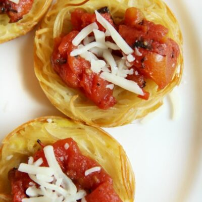 Leftover Spaghetti Cup Nests Recipe