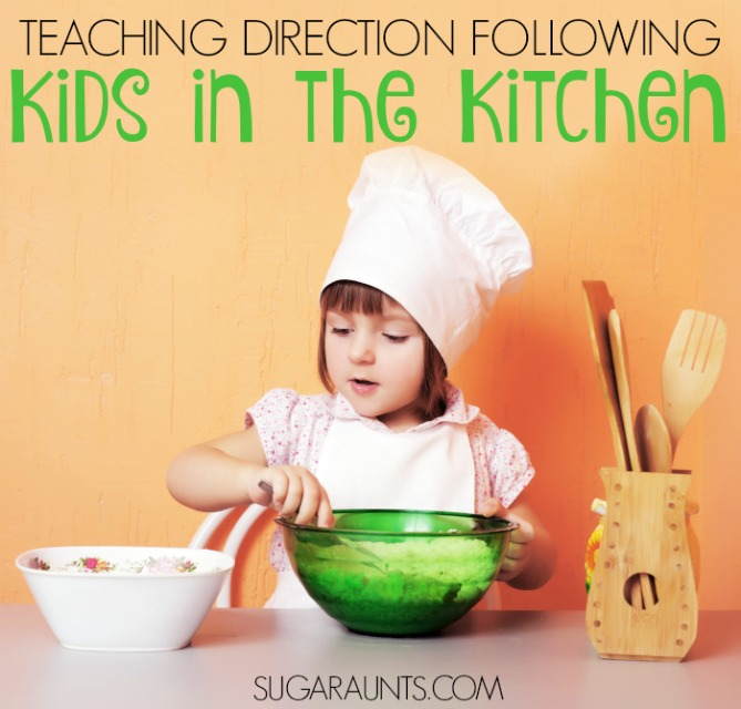 Cooking with kids to practice direction following and problem solving, sequencing and other cognitive aspects of childhood.  These tips and ideas are fun and creative ways to practice skills needed for cooking and preparing meals for families.  From an Occupational Therapist.