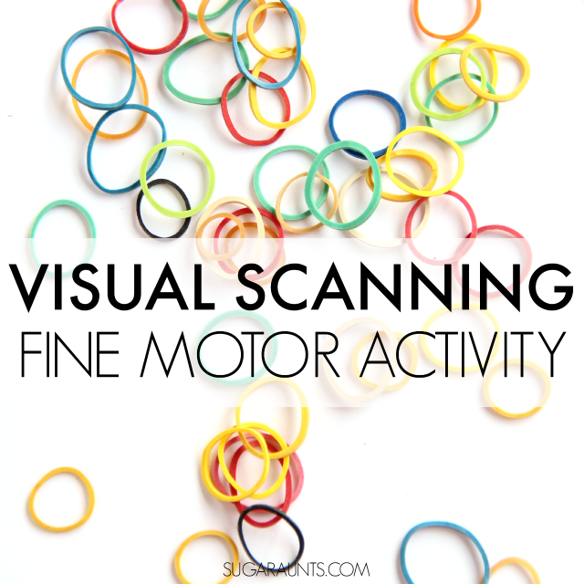 Visual Scanning Activity for fine motor skills and visual scanning in so many functional tasks like reading, word searches, puzzles. This visual motor activity creates a fidget toy to help sensory seekers with fidgeting, too.