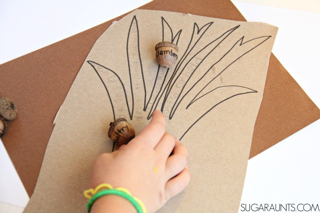 Kids can practice and learn vocabulary words and definitions with a hands-on learning activity using acorns and a Fall theme tree. It's a fun way to learn vocab words without just memorizing a list! Perfect for second grade ELA!
