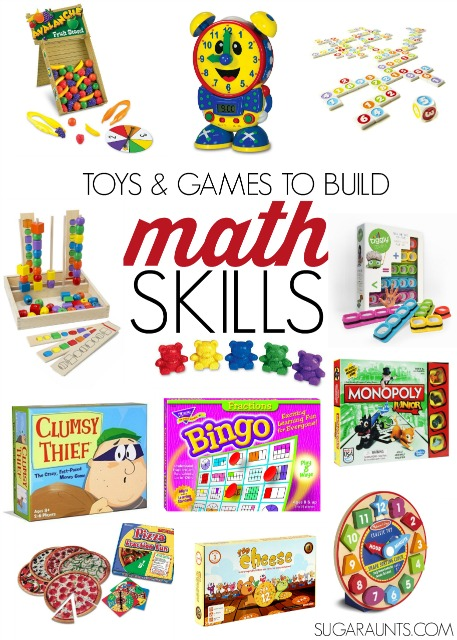 Toys and games for kids to build math skills: Patterns, shapes, addition, subtraction, multiplication, division, time telling, and money.