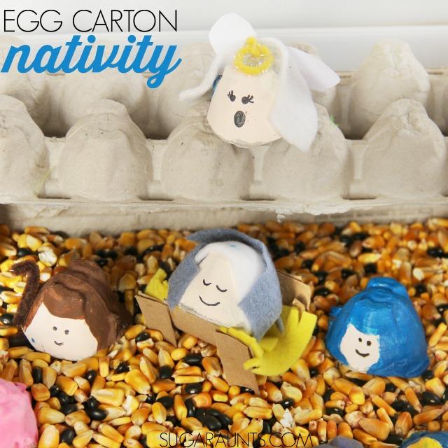 Away in a Manger Christmas Carol sensory bin. With egg cartons!