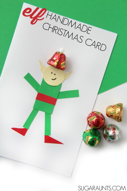 Kids will love to make and give this handmade elf card with chocolate bells.