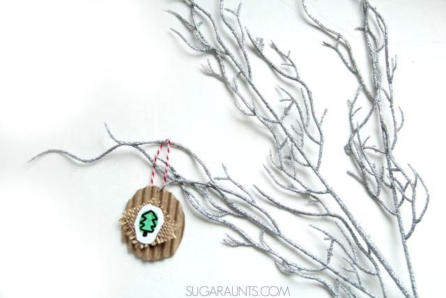 thumbprint little tree Christmas ornament