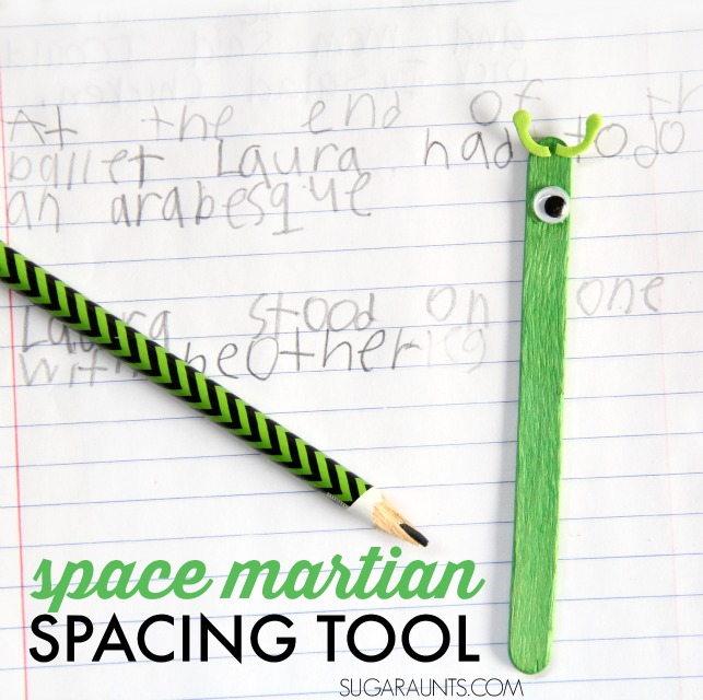 Make a spacing tool with this space martian craft, and work on visual tracking, visual perceptual skills, and visual attention in handwriting.
