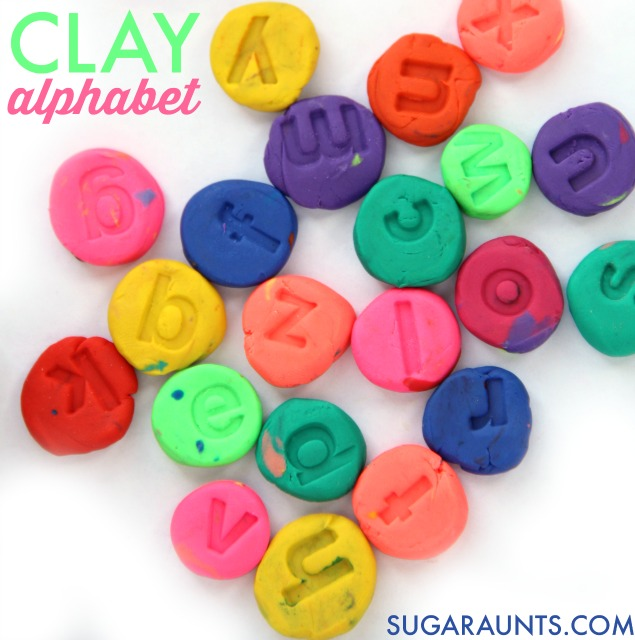 Make clay letters with alphabet stamps and use them in spelling words, decodable reading, word building, letter identification, and alphabetical order activities for multi- age learning ideas and hands-on learning in this fine motor work learning and play idea for kids.